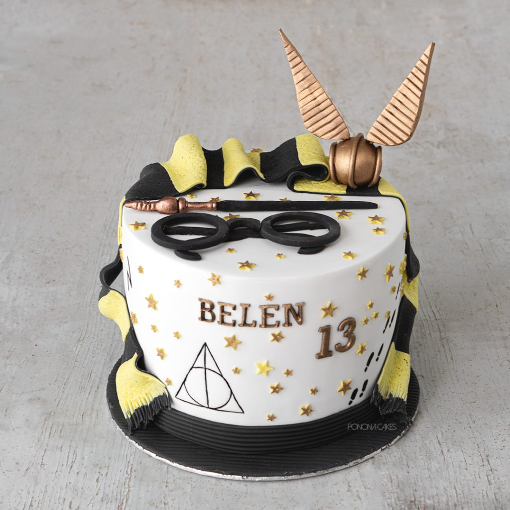 harry potter cake with lack and yellos scarf snitch and glasses
