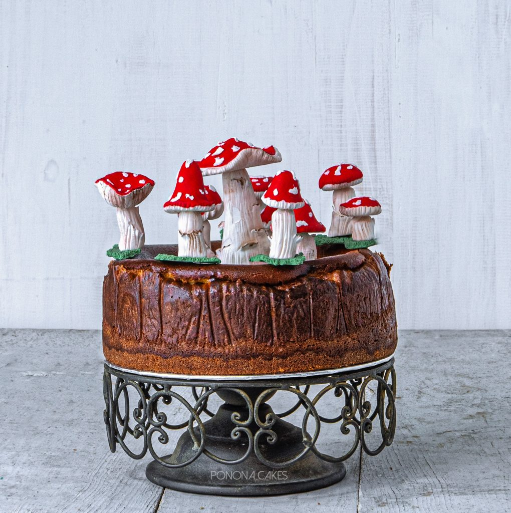 nyc cheesecake with fondant red mushrooms