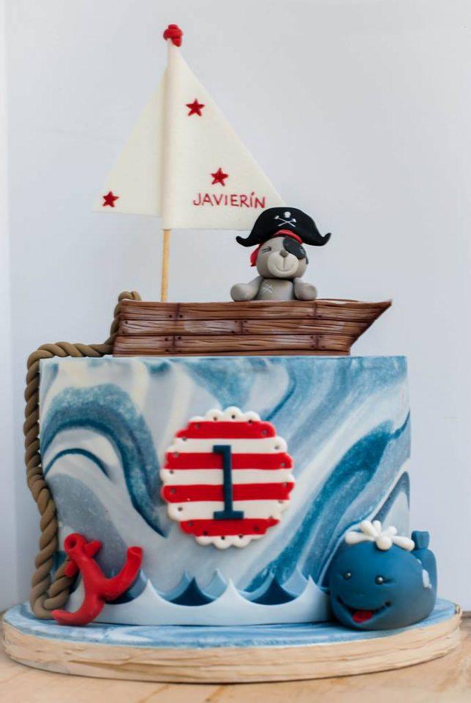 oso pirata y ballena barco vela tarta ponona cakes