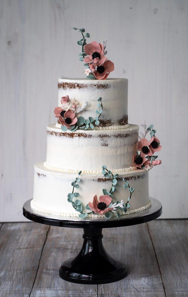 pink anemone semi naked cake tarta sin fondant con anemonas rosas ponona cakes santander