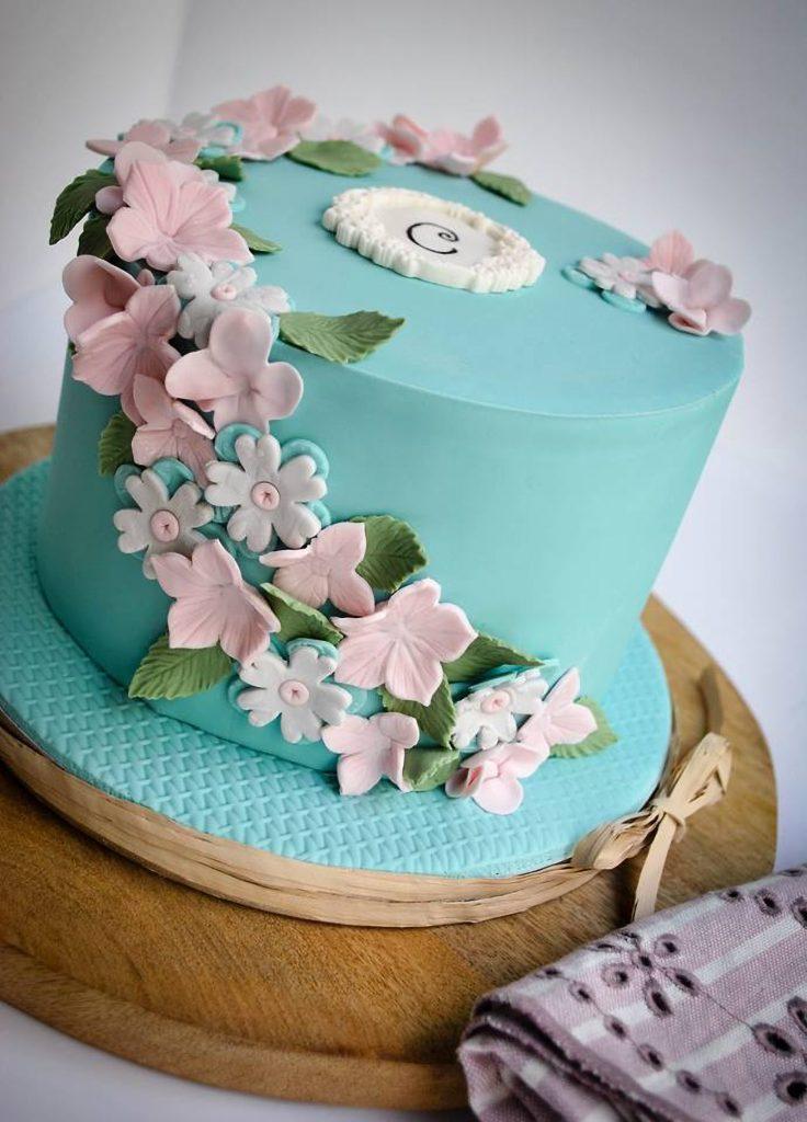 tarta florecitas turquesa rosa ponona cakes