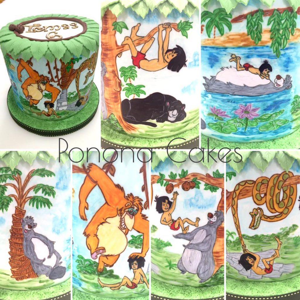 tarta libro de la selva mogli disney pintado a mano handpainted cake ponona cakes