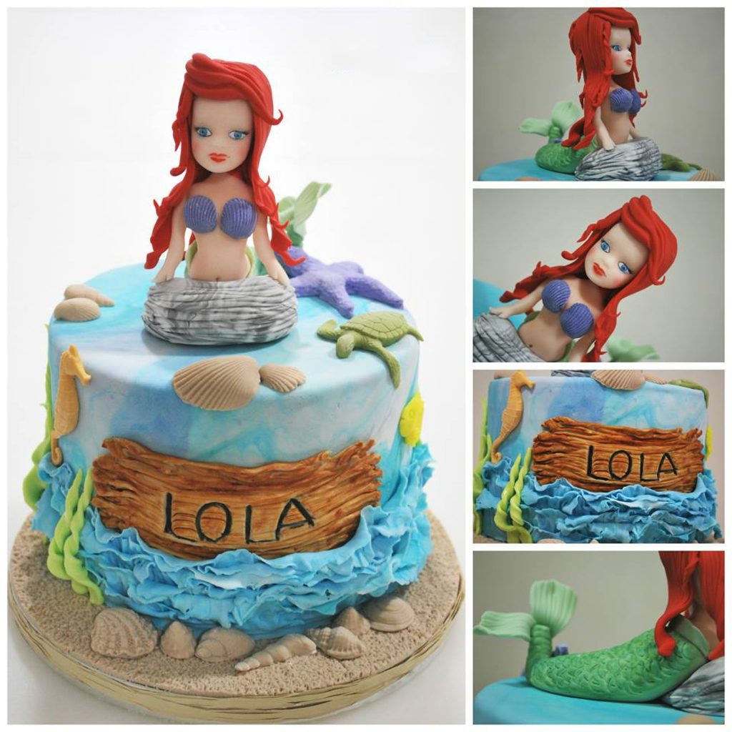 mermaid cake little mermaid sea side waves shells ponona cakes